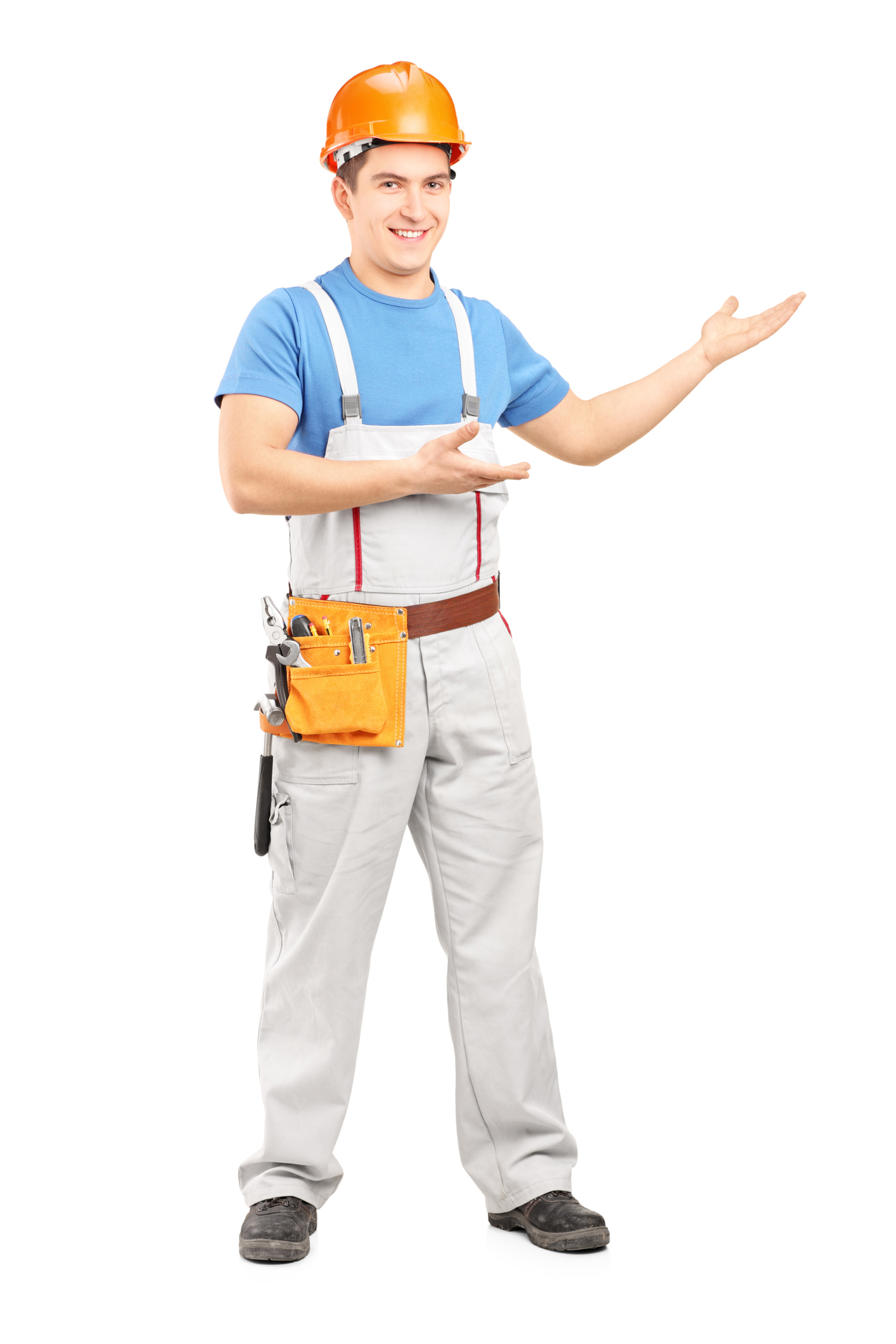 Manual worker with tool belt and helmet